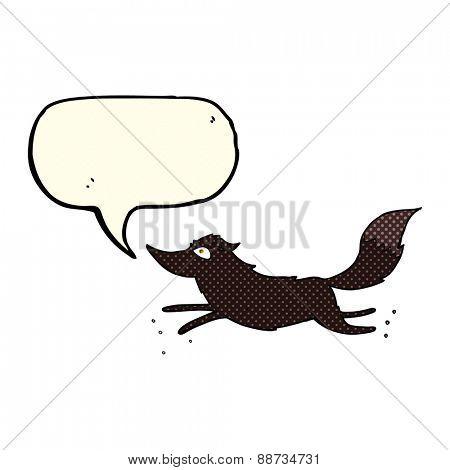 cartoon wolf running with speech bubble
