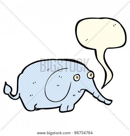 cartoon sad little elephant with speech bubble