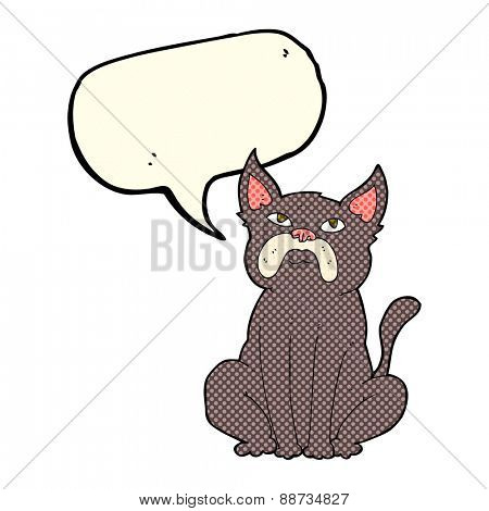 cartoon grumpy little dog with speech bubble