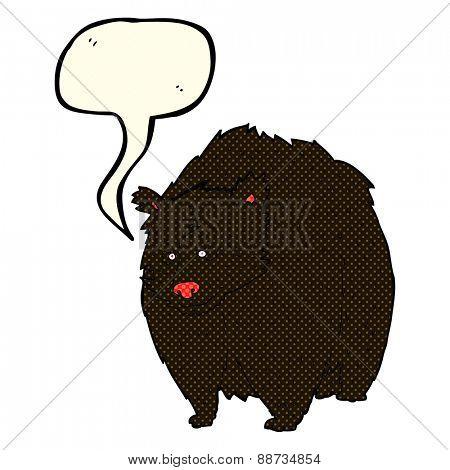 huge black bear cartoon with speech bubble
