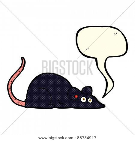 cartoon black rat with speech bubble
