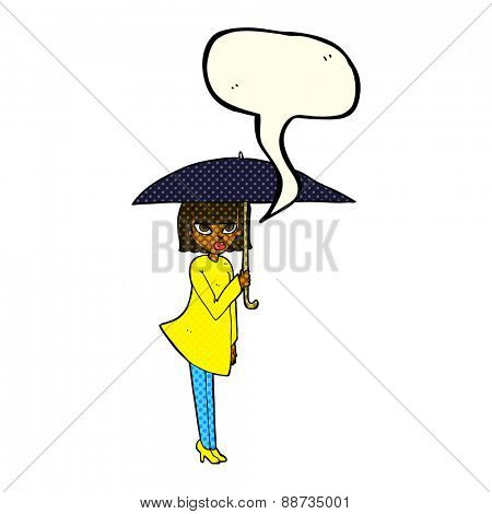 cartoon woman with umbrella with speech bubble