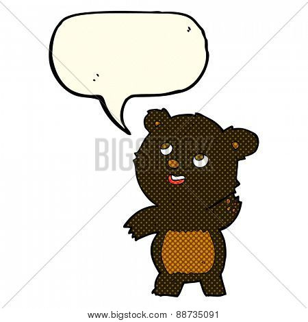 cartoon cute waving black bear teddy with speech bubble