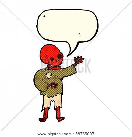 cartoon skeleton waving with speech bubble
