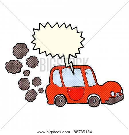cartoon car with speech bubble