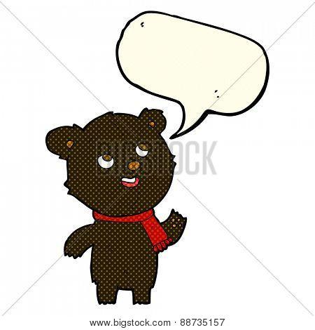 cartoon black bear wearing scarf with speech bubble
