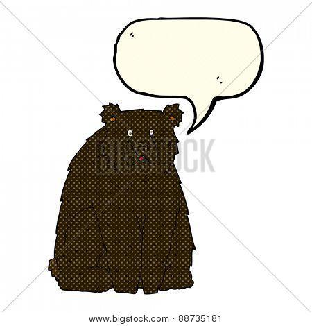 cartoon funny black bear with speech bubble