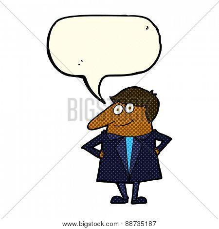 cartoon happy man in suit with speech bubble