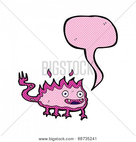 cartoon little fire demon with speech bubble
