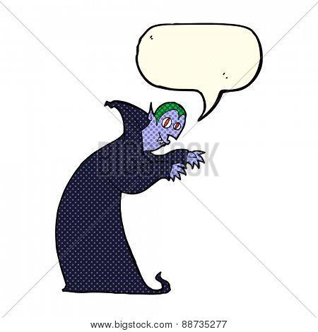 cartoon spooky vampire with speech bubble