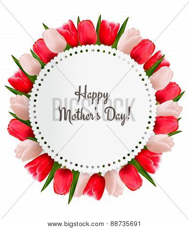 Red And White Tulips With Happy Mother's Day Note. Vector.