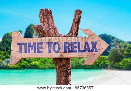 Time to Relax wooden sign with beach background