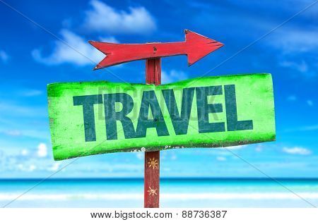 Travel sign with beach background
