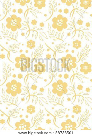 Drawn floral ornamental seamless pattern. Pink pastel color. Simple natural background