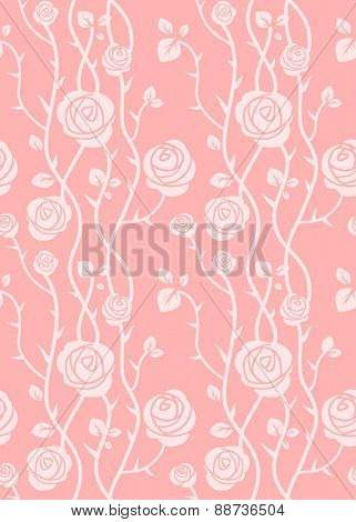 Floral seamless pattern. Pink pastel color. Simple natural background