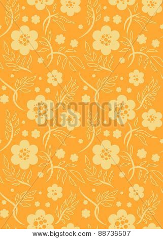 Bright orange seamless pattern with decorative flowers.  Pastel color. Simple natural background