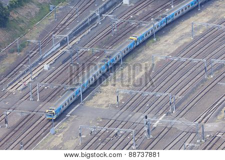 Aerial view of train in motion