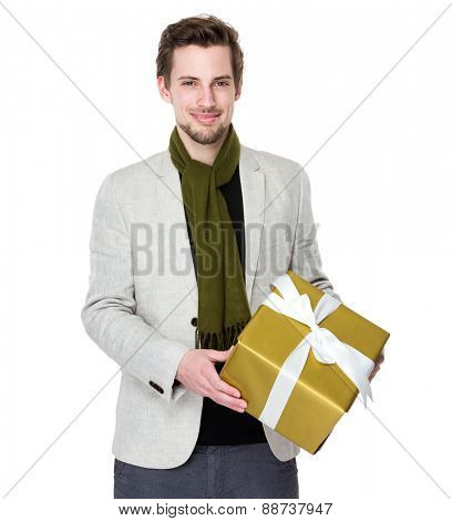 Happy man hold with gift box
