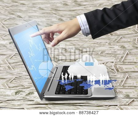 pushing laptop, close up of hands