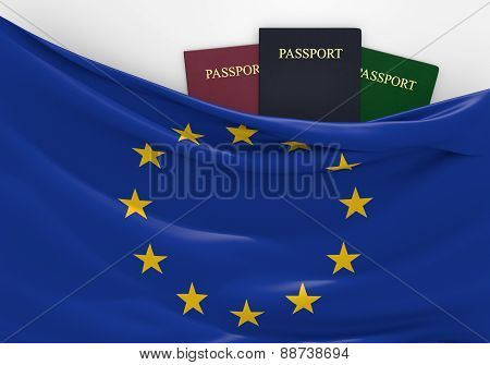 Travel and tourism in the European Union, with assorted passports