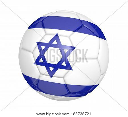 Soccer ball, or football, with the country flag of Israel