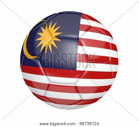 Soccer ball, or football, with the country flag of Malaysia