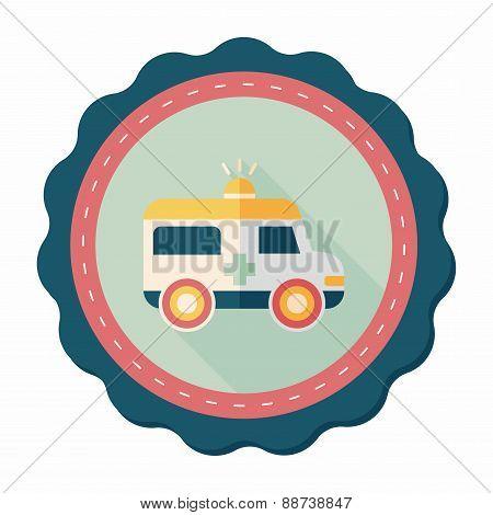 Ambulance Flat Icon With Long Shadow