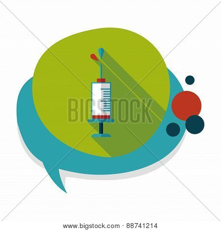 Syringe Flat Icon With Long Shadow