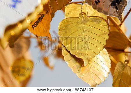 Golden Metal Sheet In Bo Leaf Shape