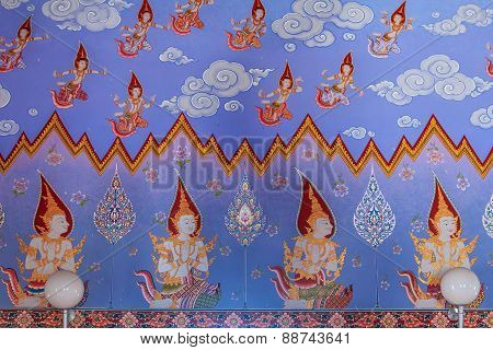 Thai Buddhist Paintings Of Dieties On The Temple Walls