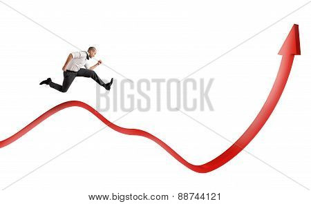 Businessman jump up