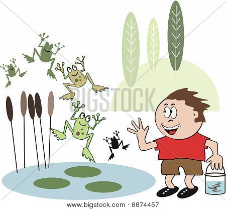 Boy with frog cartoon