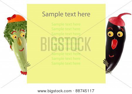 Creative Food Concept. Funny Little Zucchini And Eggplant Look  And Smile With Sample Text.