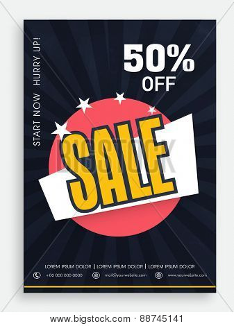 Beautiful sale poster, banner or flyer design with 50% discount offer.
