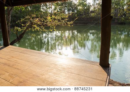 View From The Wooden Gazebo Beside The Lake