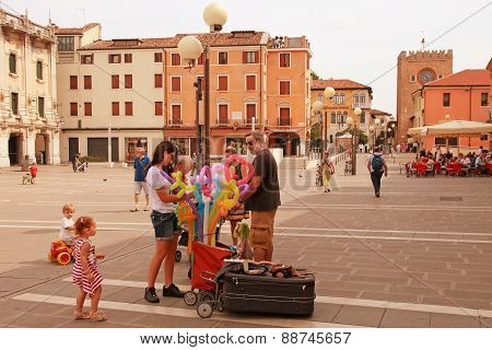 Venice, Mestre-june 29, 2014: Mestre On June 29, 2014. Piazza Erminio Ferretto In Italy. Mestre Is T