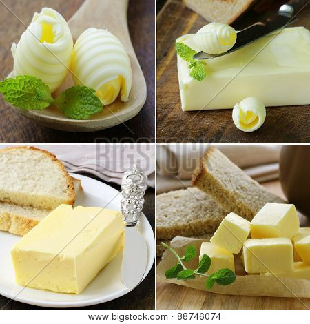 collage of fresh dairy organic yellow butter for breakfast