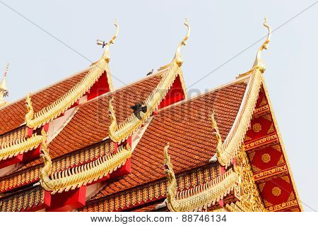 Naga Sculpture Art On Thailand Temple Roof