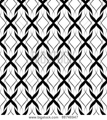 Black And White Seamless Pattern Twist Line Style, Abstract Background.