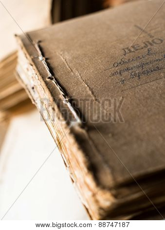 The Folder With Old Paper Documents In The Archive