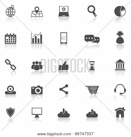 Seo Icons With Reflect On White Background