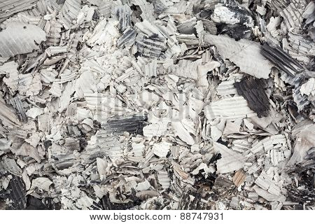 Pile Of Burnt Corrugated Paper