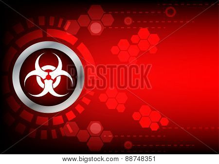 Abstrack  Bio Hazard Technology On Red Color Background