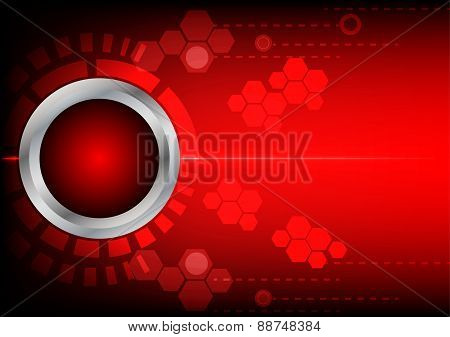 Abstrack Button Red Technology And Light  On Red Background