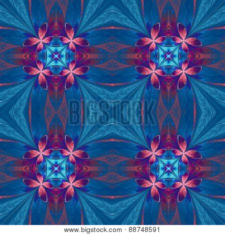 Symmetrical Flower Pattern In Stained-glass Window Style On Blue. Blue, Pink And Purple Palette. Com