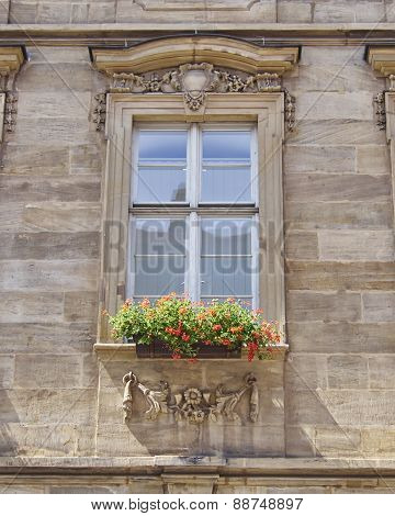 vintage window with flowers, Bamberg Germany