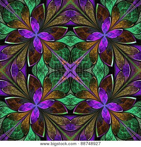 Multicolored Symmetrical Fractal Pattern In Stained-glass Window Style. Computer Generated Graphics.