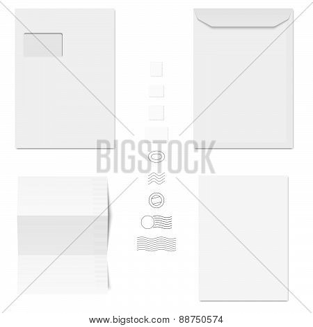 White Envelopes, Writing Paper, Postage Stamps