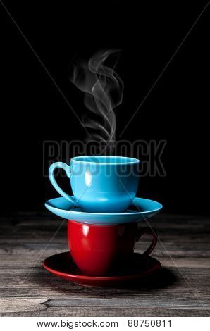 steaming coffee cups