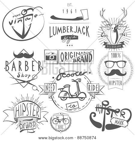 Hipster vintage labels set black
